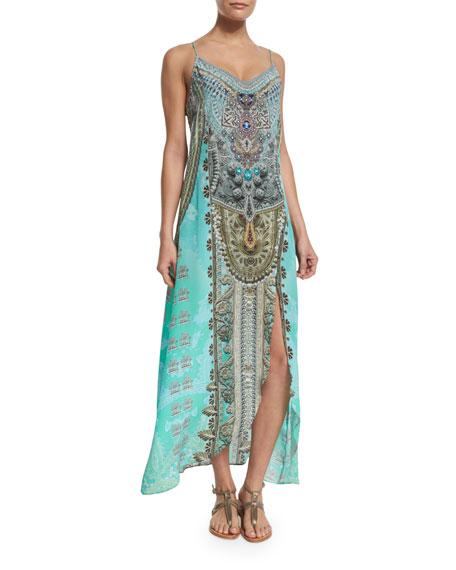 Camilla Embellished Low-Back Long Coverup Dress