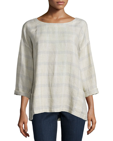Eileen Fisher 3/4-Sleeve Catalan Plaid Top, Natural, Petite