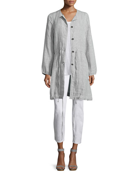 Eileen Fisher Double-Face Linen/Cotton Long Jacket