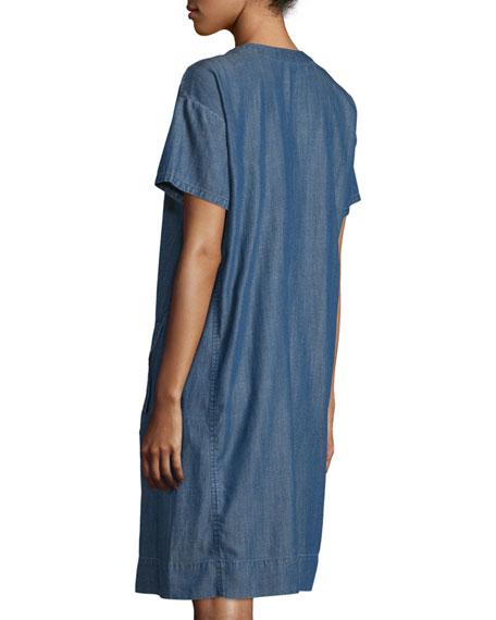 Classic Short-Sleeve Shift Dress