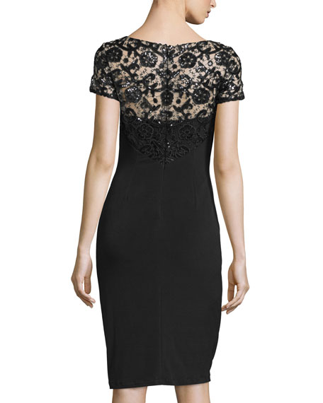 Short-Sleeve Sequined Lace Cocktail Dress