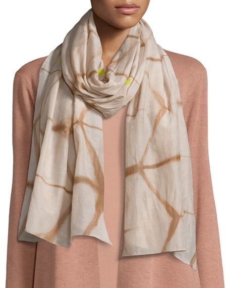 Eileen Fisher Artisanal Cotton/Silk Refractions Scarf, Toffee