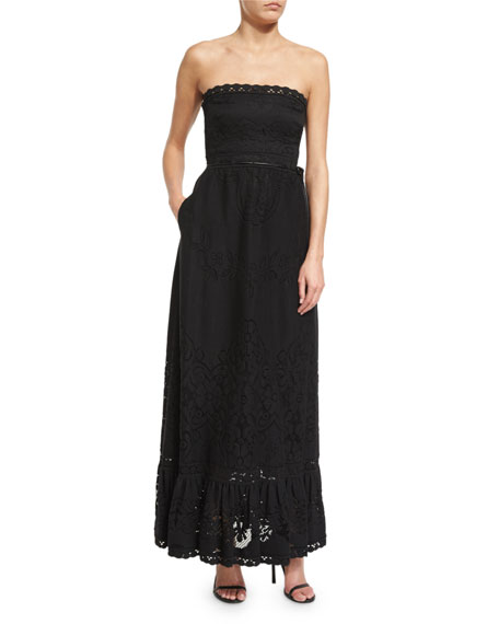 Valentino Strapless Lace Gown W/Pockets, Black
