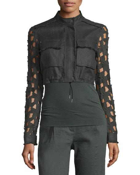 Elie Tahari Seneca Macrame Cropped Jacket, Camouflage