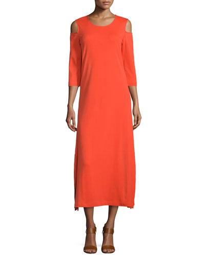 Cold-Shoulder A-line Jersey Maxi Dress, Poppy Orange, Petite