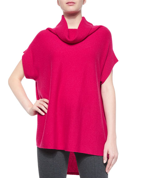 Slouchy Ribbed Turtleneck Sweater, Cerise