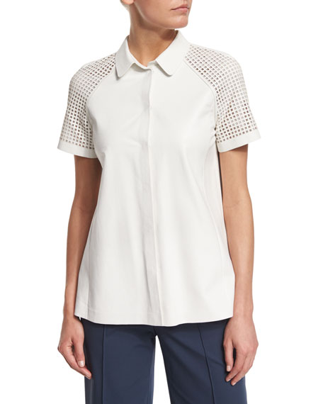 Lafayette 148 New York Ingrid Lamb Leather Blouse