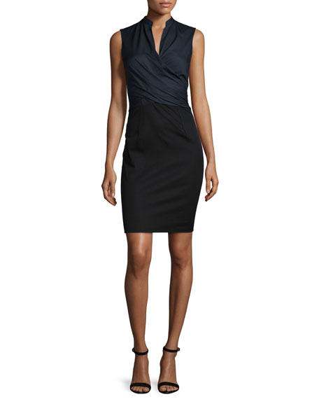 Elie Tahari Laken Sleeveless Crossover Dress, Navy Yard