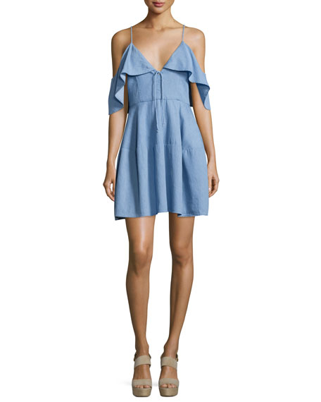 Cold-Shoulder Chambray Mini Dress, Light Blue