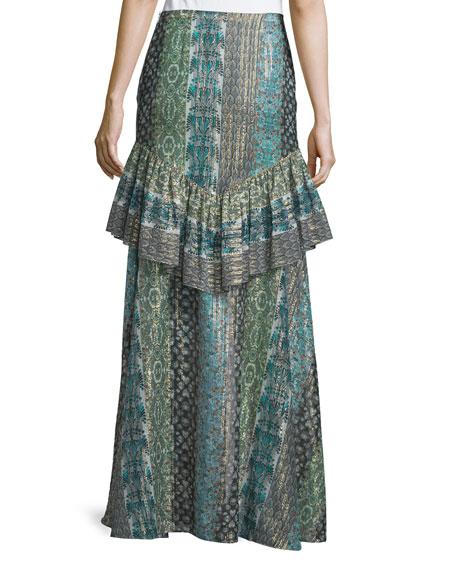 Meredith Printed Maxi Skirt, Stripe Print