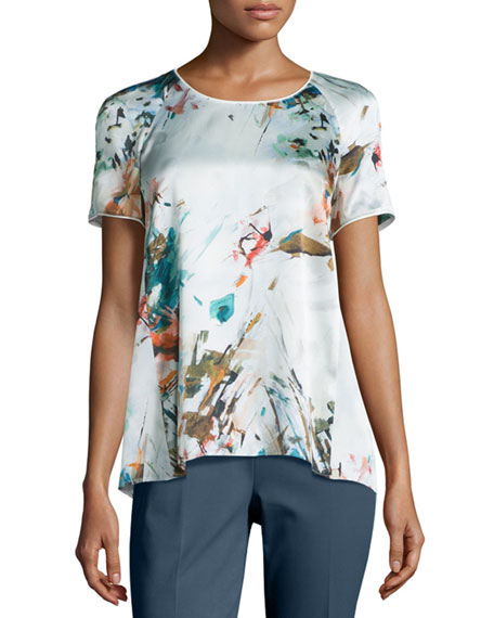 Lafayette 148 New York Kate Short-Sleeve Printed Blouse