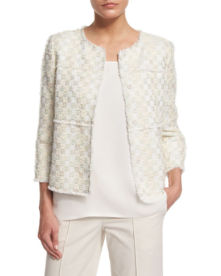 Lafayette 148 New York Dani Tempered Tweed Snap-Front