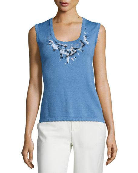 Carolina Herrera Scoop-Neck Embroidered Tank, Liberty Blue