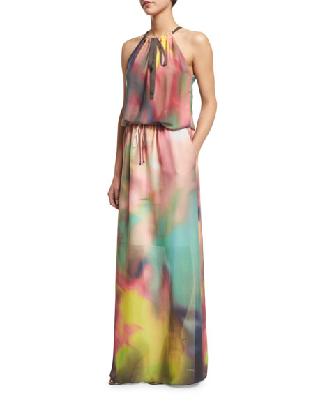 Elie TahariYork Sleeveless Watercolor Maxi Dress, Multi Colors