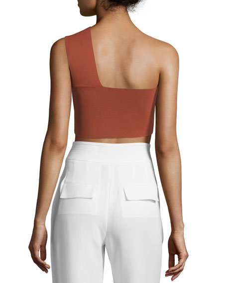 Georgia One-Shoulder Crop Top, Rust