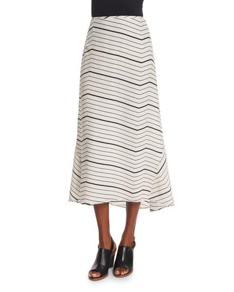 Theory Vivridge Bevel Striped Maxi Skirt