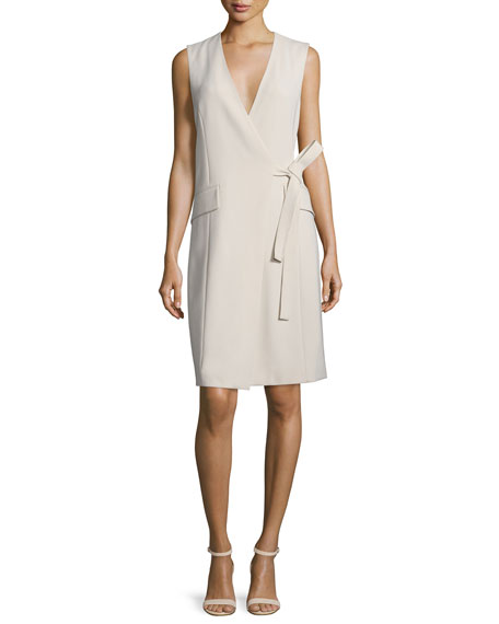 Theory Livwilth Admiral Surplice-Neck Crepe Dress