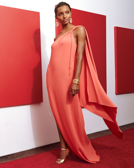One-Shoulder Cape Gown
