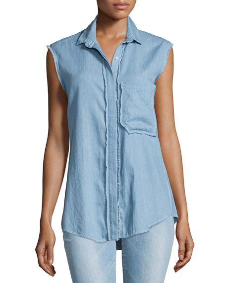 Chambray Button-Front Sleeveless Shirt, Light Blue