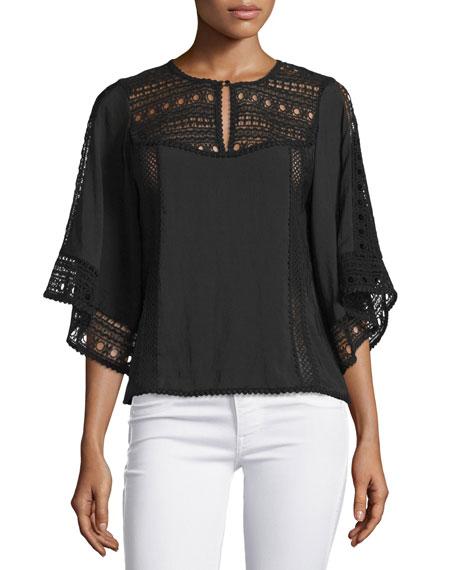 Nanette Lepore Flutter-Sleeve Crochet-Inset Top, Black