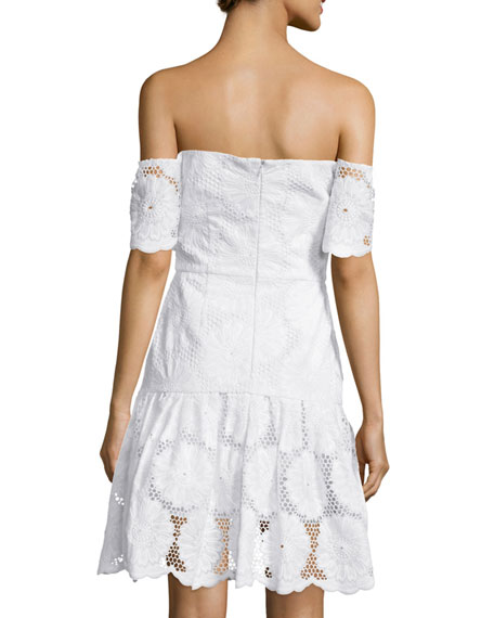 Off-The-Shoulder Sunflower-Lace Dress, White