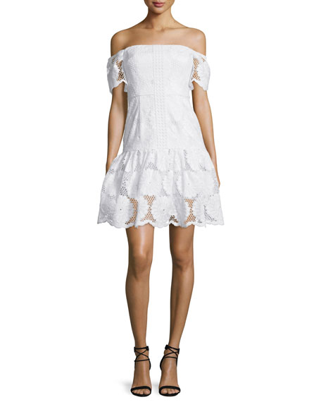 N NICHOLAS OFF-THE-SHOULDER SUNFLOWER-LACE DRESS, WHITE