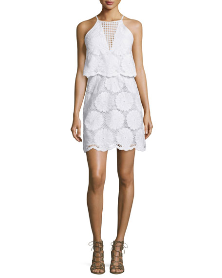 NICHOLAS Sunflower-Lace Tiered Mini Dress, White