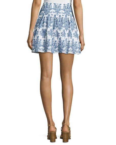 Embroidered Mini Skirt, White/Blue