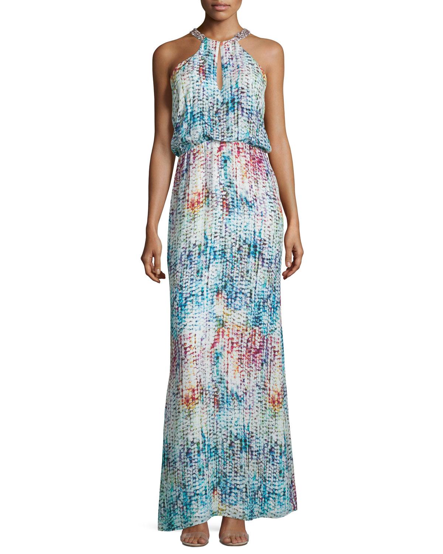 8ef977d9727 Parker Marceline Printed Silk Blouson Column Gown