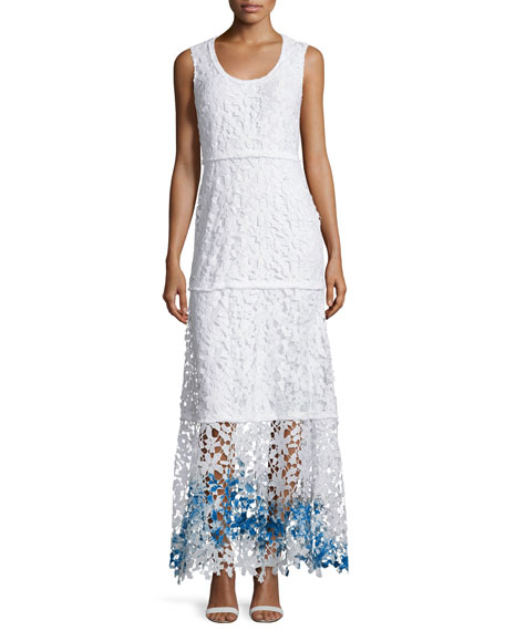 Elie Tahari Adelaide Sleeveless Floral-Lace Maxi Dress, Multi Colors