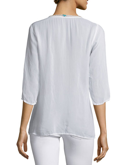 Tropic 3/4-Sleeve Embroidery Blouse, Plus Size