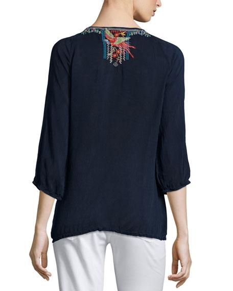Olivia 3/4-Sleeve Embroidered Blouse