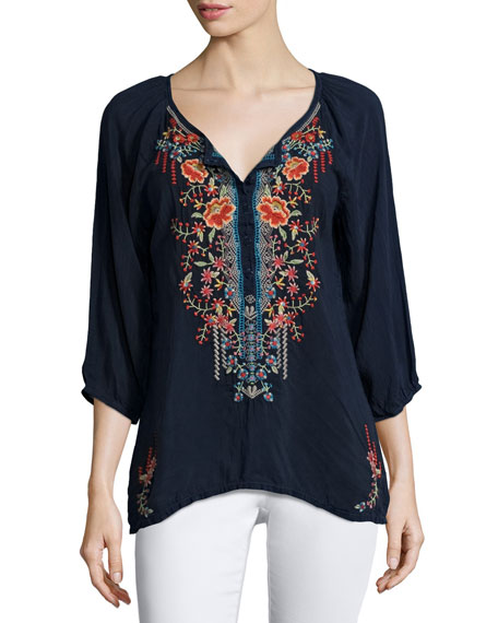 Johnny Was Olivia 3/4-Sleeve Embroidered Blouse