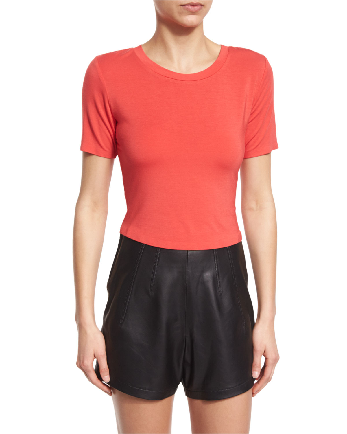 af534960da2 Kendall + Kylie Short-Sleeve Cropped T-Shirt   Mid-Rise Leather ...