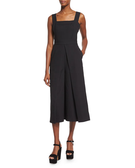 Kendall + Kylie Sleeveless Wide-Leg Culotte Jumpsuit, Black