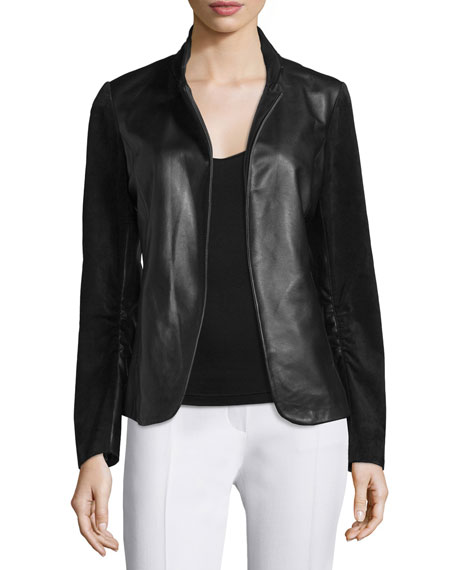 Neiman Marcus Scrunch-Sleeve Leather & Suede Blazer