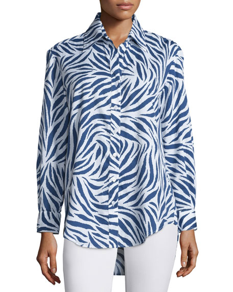 Finley Monica Zebra-Print Sateen Blouse, Royal/White