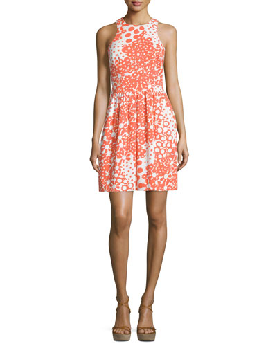 Sleeveless Floral-Print Dress, Coral