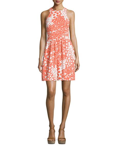 Trina Turk Sleeveless Floral-Print Dress, Coral