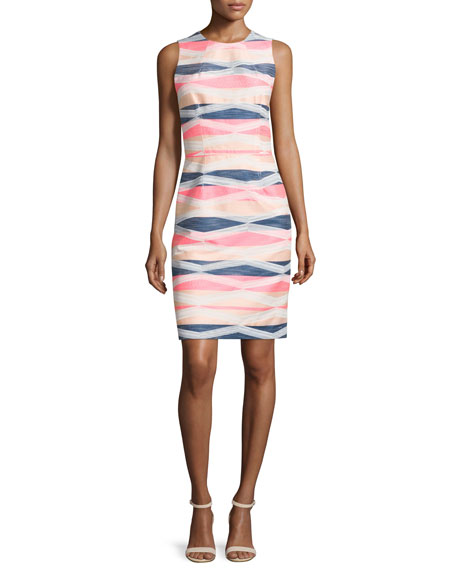 Trina Turk Sleeveless Striped Sheath Dress, Multi Colors
