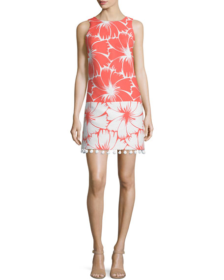 Trina Turk Sleeveless Colorblock Floral-Print Dress, Coral