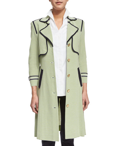Striped Trench Jacket W/ Contrast Trim