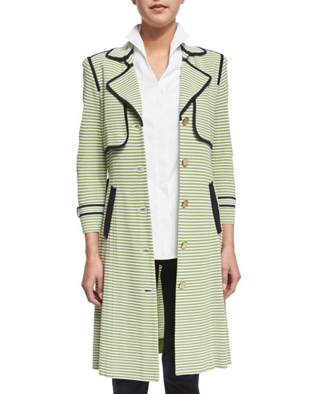 Misook Striped Trench Jacket W/ Contrast Trim