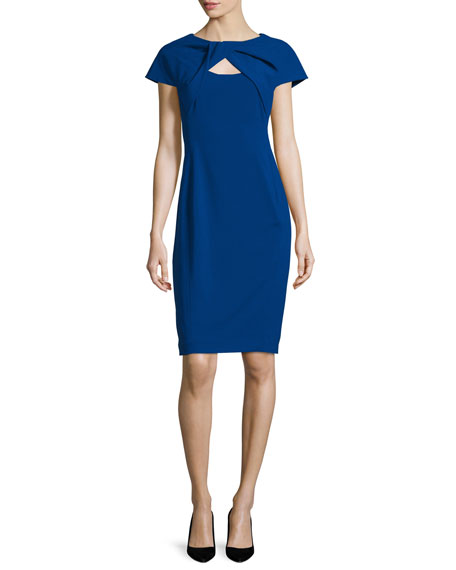 Rene Ruiz Cap-Sleeve Twist-Front Dress, Cobalt