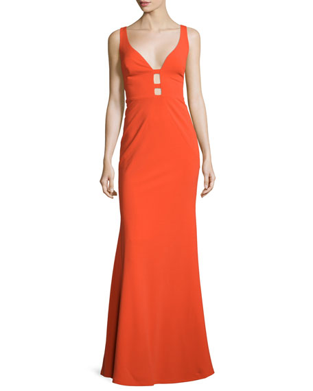 Nicole Miller Sleeveless Column Gown W/Cutouts, Bright Orange