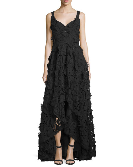 Floral-Embellished High-Low Gown, Black