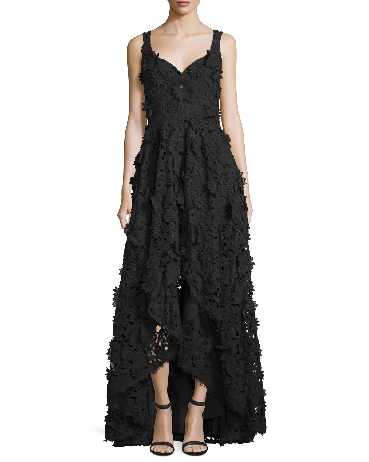 Nicole Miller Floral-Embellished High-Low Gown, Black | Neiman Marcus