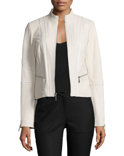 Classic Leather Jacket W/Zip Pockets, Beige
