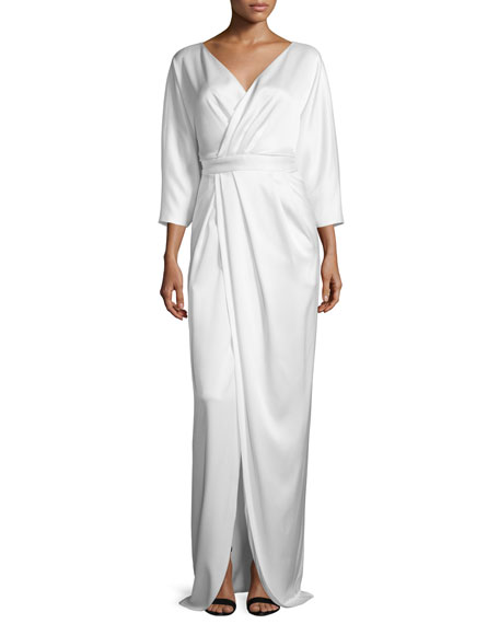 Black Halo 3/4-Sleeve Faux-Wrap Gown
