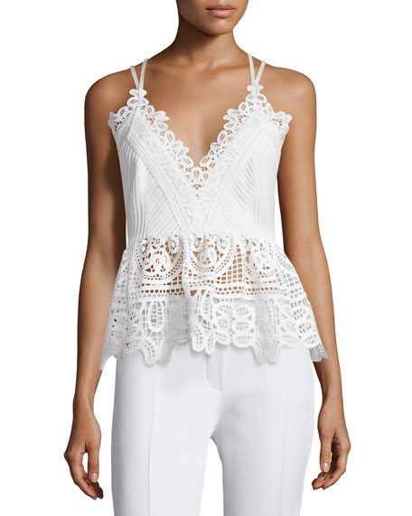 Self Portrait Sleeveless Textured Lace-Trim Top, White